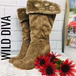 🔴WILD DIVA Faux Suede Faux Fur Stacked Heel Boots